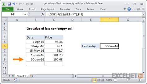 Excel formula: Get value of last non-empty cell | Exceljet