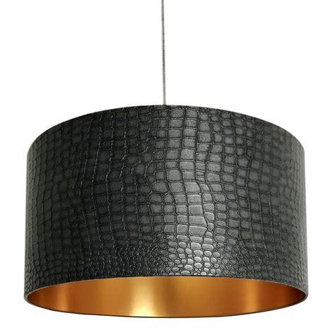 Mock Croc Print Lampshade with Ambient Gold Lining