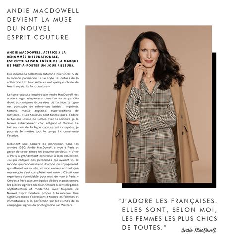 Andie MacDowell Nouvelle Muse UJA