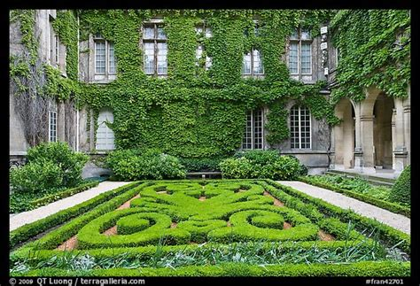 Picture/Photo: Formal garden in courtyard of hotel