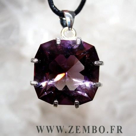 gros pendentif amethyste taille coussin - Zembo