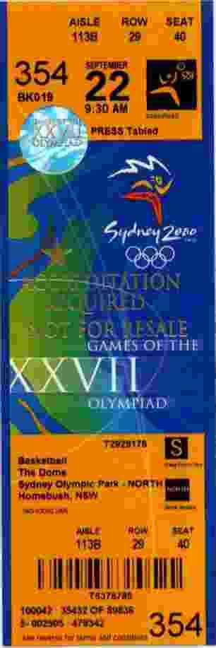 Tickets Olympic Games 2000 Sydney
