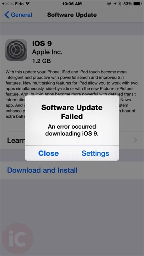 iOS 9 'Software Update Failed' Pop Up Resulting for