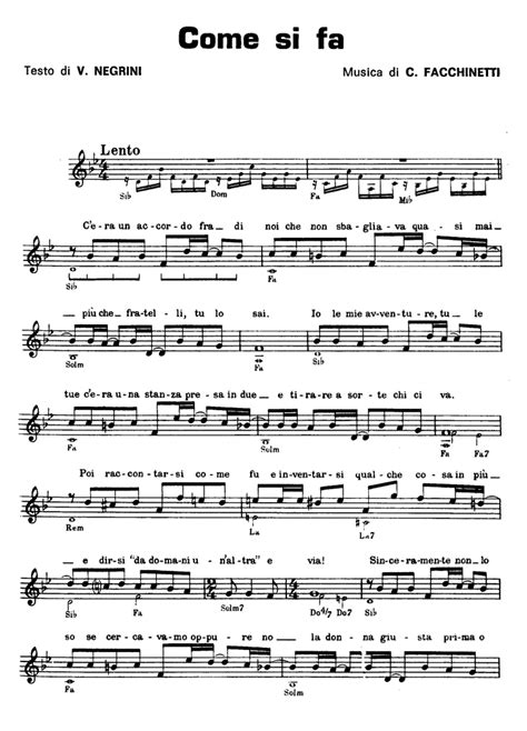 COME SI FA Pooh Sheet music - Guitar chords - Lyrics