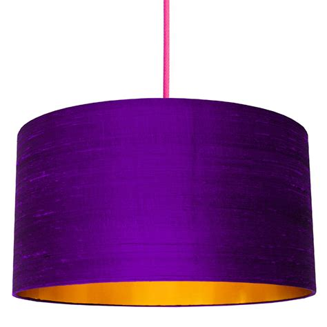 Ultra Violet Indian Silk Lampshade With Gold Lining | Love