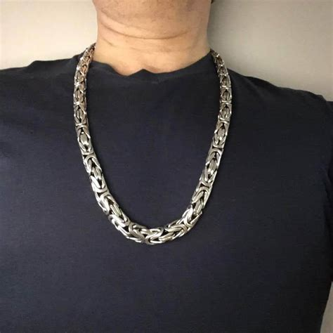 Byzantine Bali Silver Necklace Chain - 12mm Wide