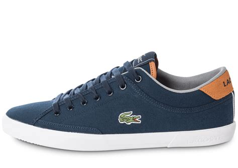 Lacoste Angha Canvas bleu et marron - Chaussures Baskets