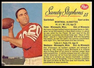 Sandy Stephens - 1963 Post CFL #13 - Vintage Football Card