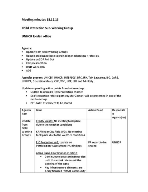 Document - Child Protection Sub Working Group Meeting Minutes