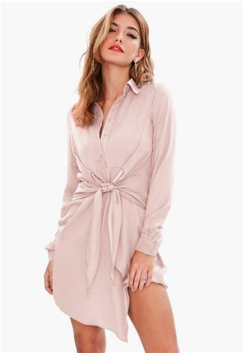 Robe chemise rose à nouer | Missguided