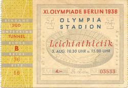 Tickets Olympic Games 1936 Berlin