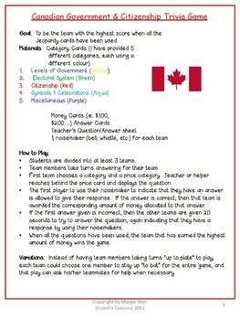 Canadian Government & Citizenship Trivia Game by Coach's